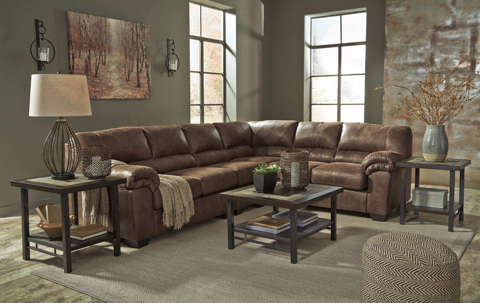 Bladen 3 piece sectional living room set in coffee for 3 piece living room set cheap