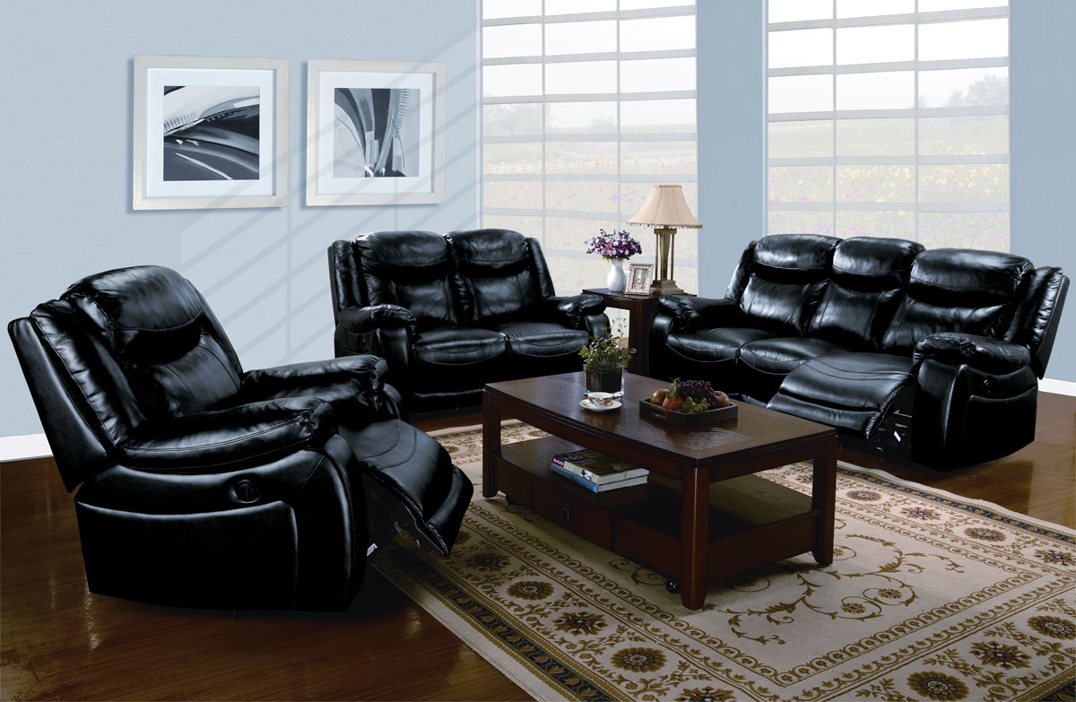 Acme moreno bonded leather power motion living room set in for Black living room set