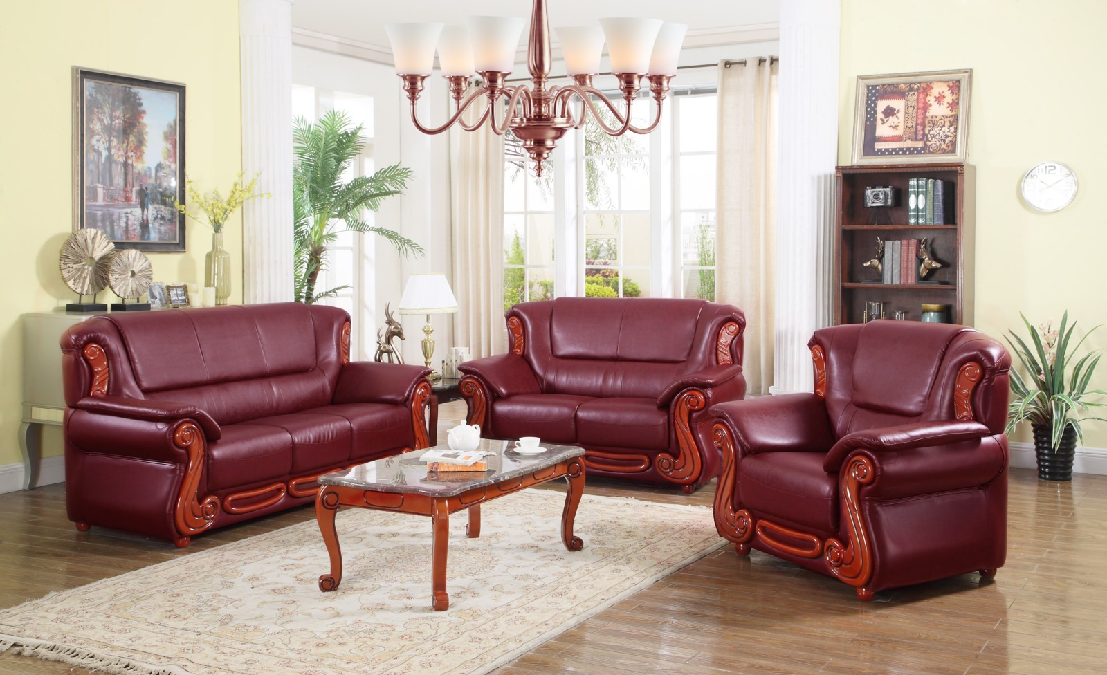 Meridian 632 2 piece living room set in burgundy for 3 piece living room set cheap