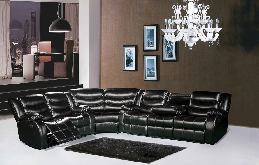 Meridian gramercy black leather 3 piece sectional living for 3 piece living room set cheap