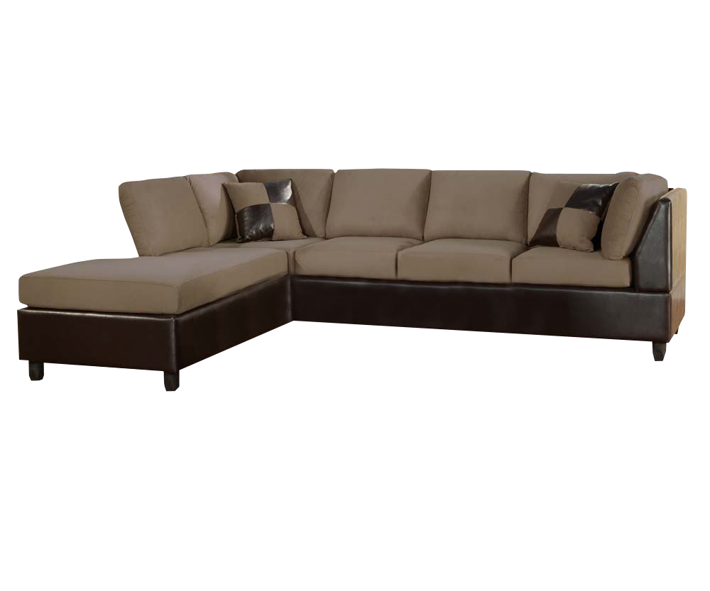 Acme Lisbon Modern Sectional Sofa In Pebble And Espresso 00110