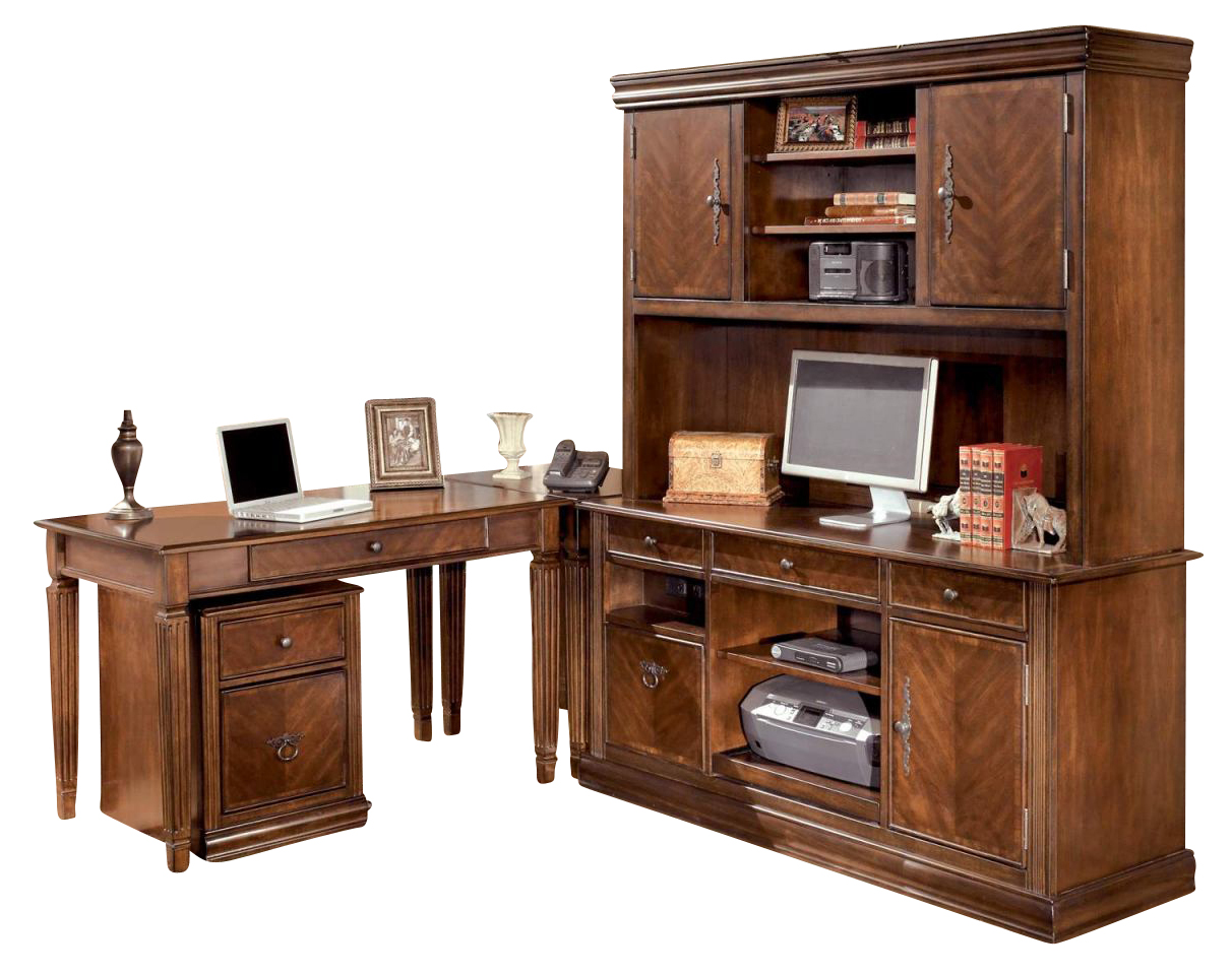 hamlyn home office l shaped desk credenza with hutch in rich medium