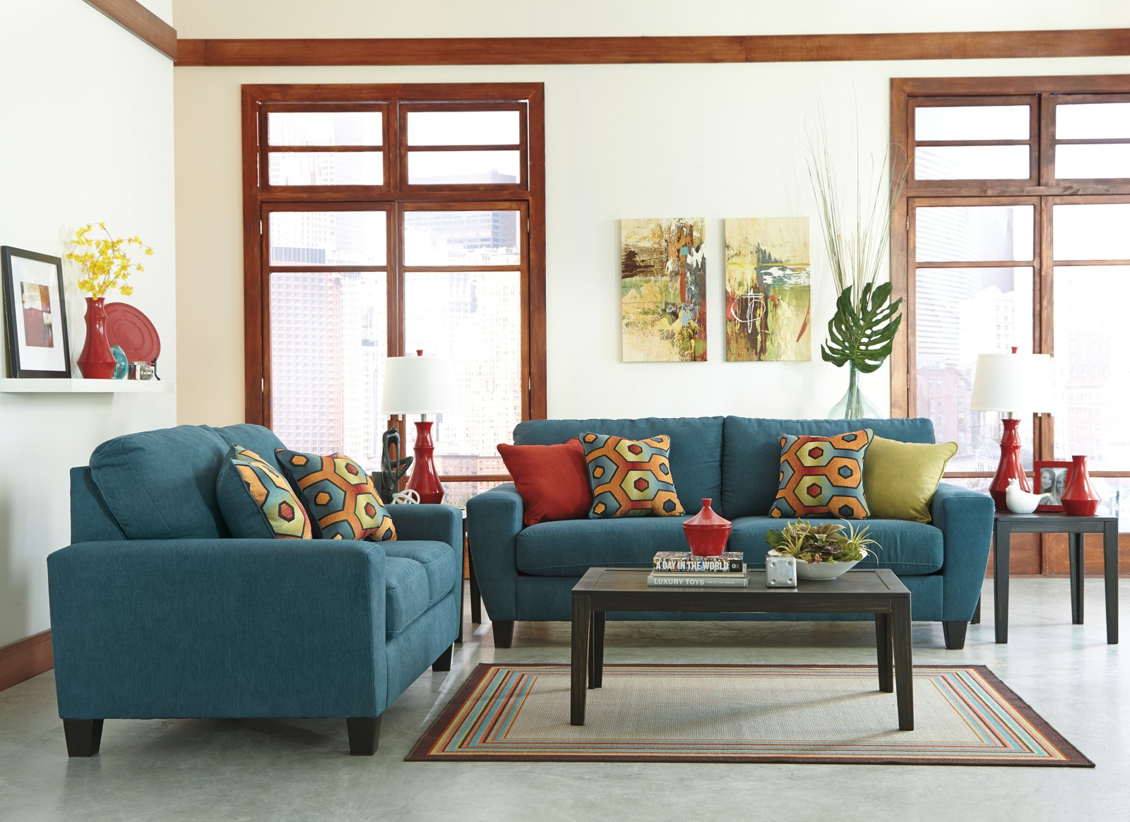 Sagen 3 piece living room set in teal for 3 piece living room set cheap