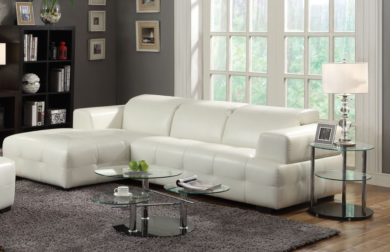 Groovy Coaster Darby Bonded Leather Sectional Sofa In White 503617 Machost Co Dining Chair Design Ideas Machostcouk