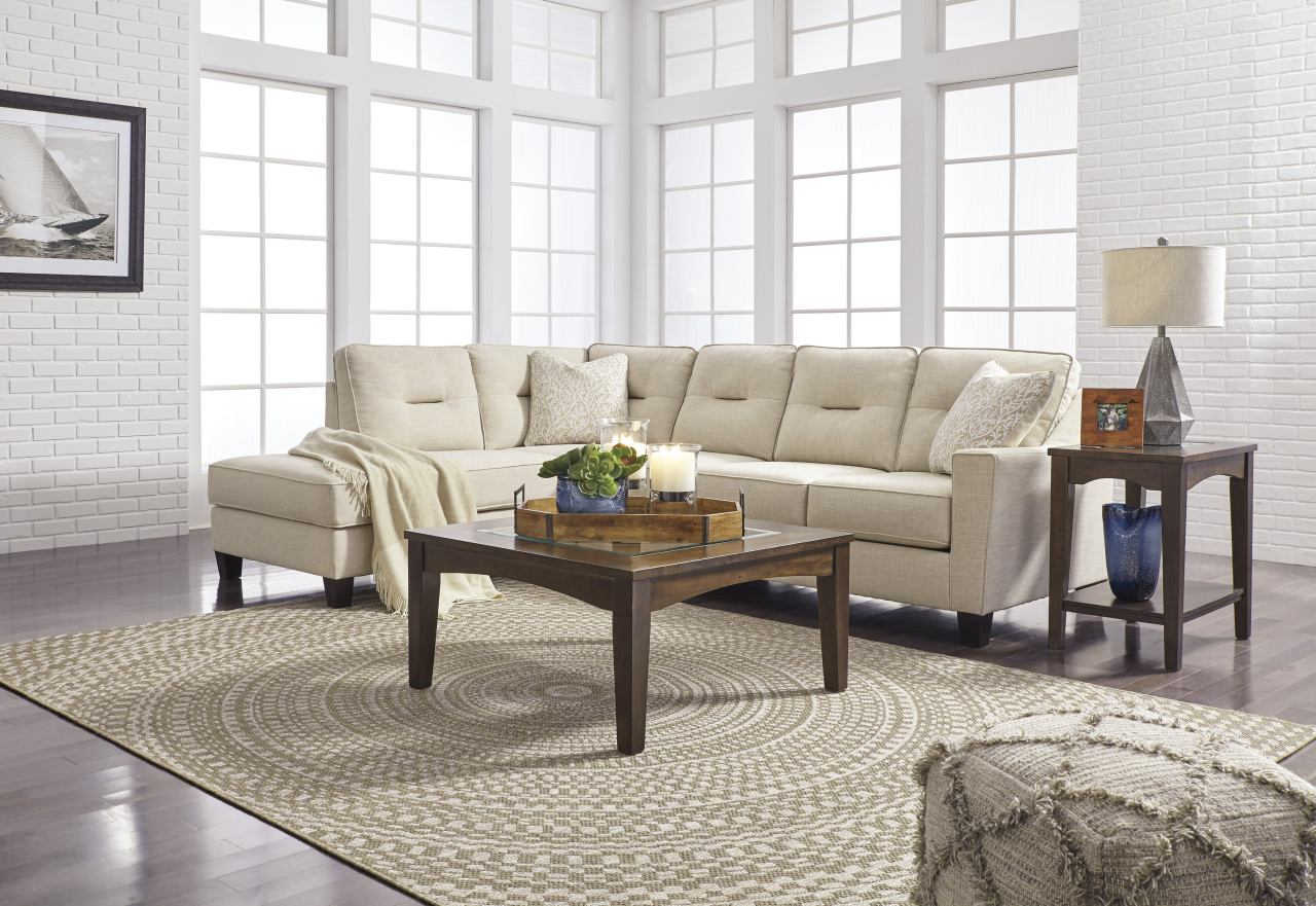 Kirwin Nuvella Sectional Living Room Set in Sand