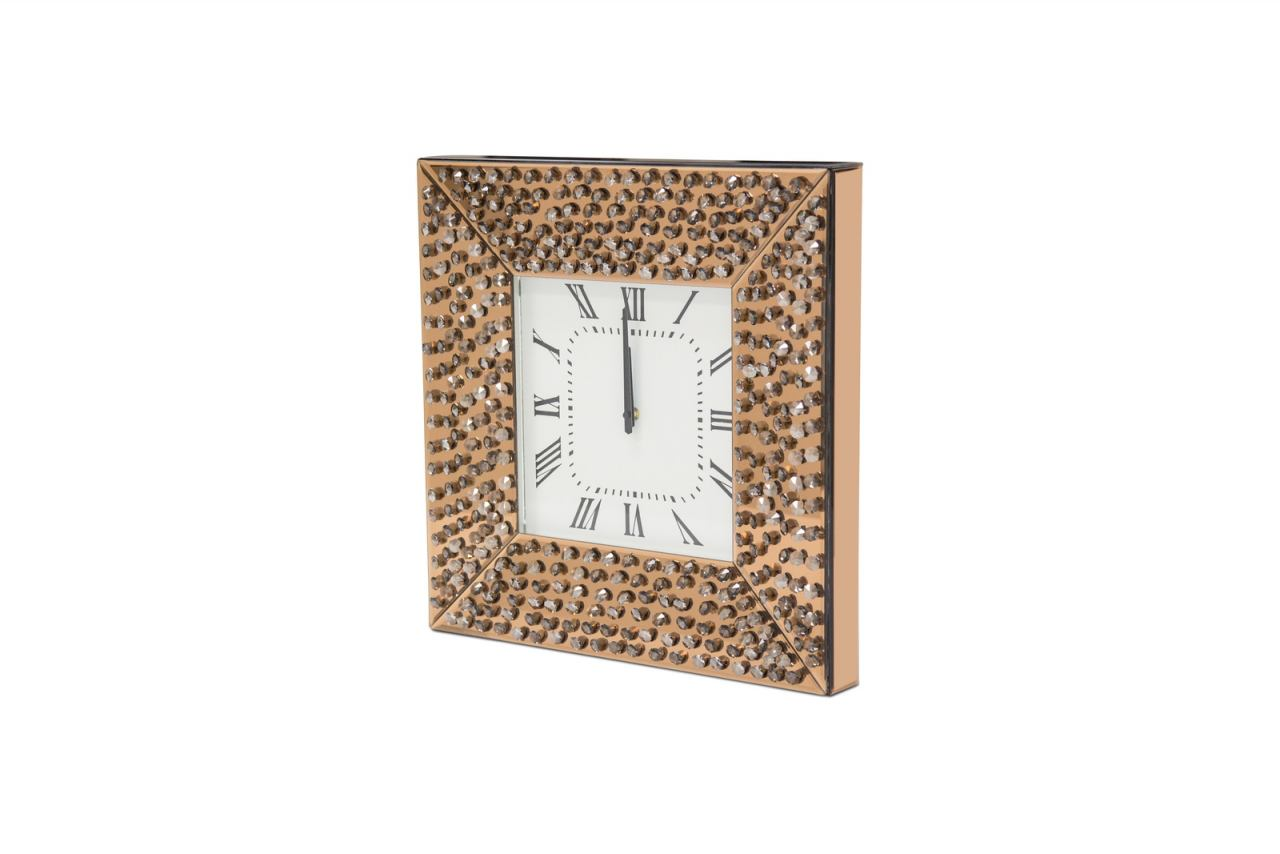 AICO Montreal Square Wall Clock w/Crystal Accents FS-MNTRL279