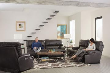 Catnapper Wembley Lay Flat Reclining Sofa In Steel CODE:UNIV20 For 20% Off