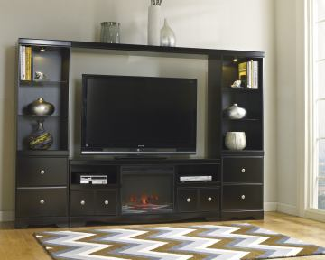 Shay Large Entertainment Unit With Tv Stand W Fireplace Insert Bridge Two Side Piers In Black