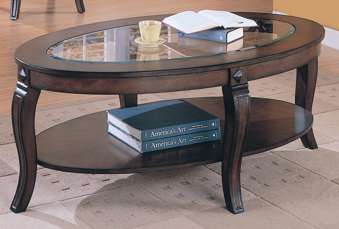Acme Riley Oval Glass Top Coffee Table in Walnut 00450