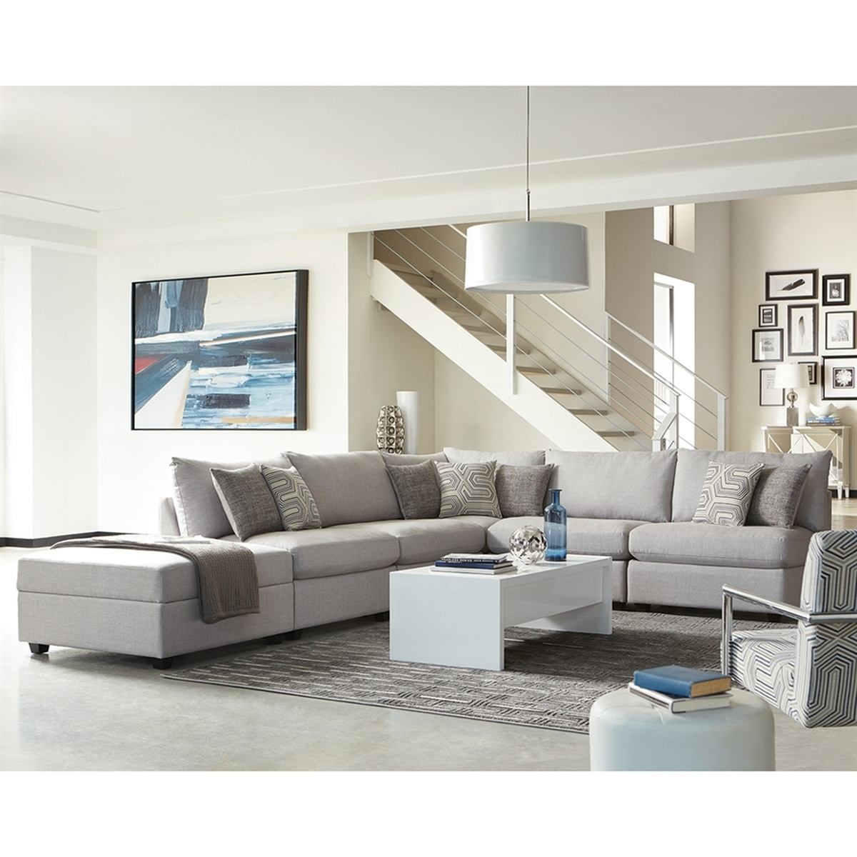 Coaster Scott Living Claude II 6pc Sectional Living Room Set in Grey