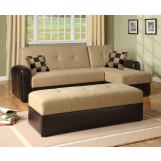 Acme Lakeland Microfiber/Espresso PU Adjustable Sectional Set