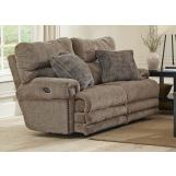 Catnapper Furniture Garrison Power Headrest with Lumbar Lay Flat Reclining Loveseat with Extended Ottoman in Camel
