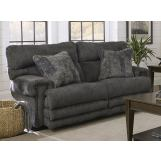Catnapper Furniture Garrison Power Headrest Lay Flat Reclining Loveseat with Extended Ottoman in Smoke