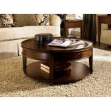 Hammary Sunset Valley Single-Drawer Round Cocktail Table in Brown 197-911