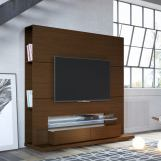 Manhattan Riverside Freestanding Theater Entertainment Center with LED Lights in Nut Brown 24851