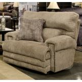 Catnaper Furniture Garrison Power Headrest Lay Flat Recliner with Extended Ottoman in Camel