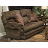 Catnapper Furniture Garrison Power Headrest Lay Flat Reclining Loveseat with Extended Ottoman in Chocolate