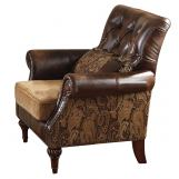 Acme Dreena Traditional Bonded Leather and Chenille Chair 05497