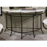 Bassett Mirror Inscape Demilune Console Table in Hammered Iron/marble 3354-404B-T