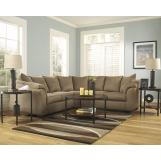 3-Piece Darcy Loveseat Sectional Set in Mocha