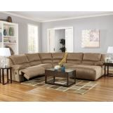 Hogan Mocha 5-Piece Right Chaise Reclining Sectional