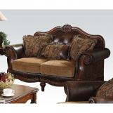 Acme Dreena Traditional Bonded Leather and Chenille Loveseat 05496
