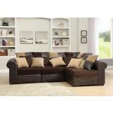 Homelegance Lamont 4 Piece Modular Sectional in Chocolate