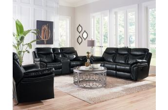Standard Furniture San Marco 2-Piece Manual Sofa Living Room Set in Black