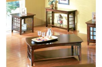 Standard Furniture Glasgow Living Room Table Set in Dark Choco Cherry 50310