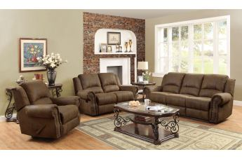 Coaster Sir Rawlinson Coated Microfiber Motion Living Room Set in Brown
