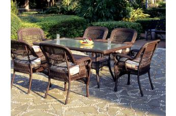 South Sea Rattan Montego Bay Outdoor 7-Piece Rectangular Dining Set