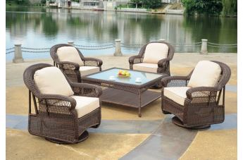 South Sea Rattan Montego Bay Outdoor 5-Piece Swivel Seating Set