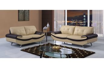 Global Furniture UFM123 2-Piece Living Room Set in Cappuccino/Chocolate