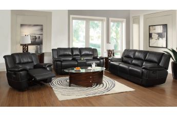 Coaster Lee 2-pc Reclining Living Room Set in Black