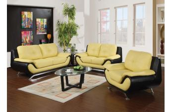 Acme Oberon 2-Piece Living Room Set in Black and Yellow