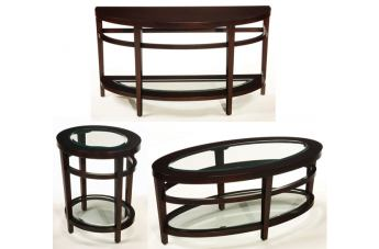 Hammary Urbana Oval Cocktail Table Set in Merlot T20810-SetB