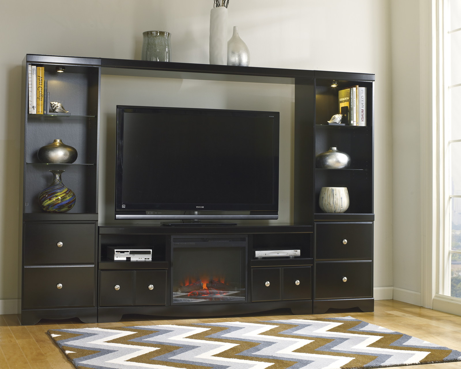Shay Large Entertainment Unit With Tv Stand W Fireplace