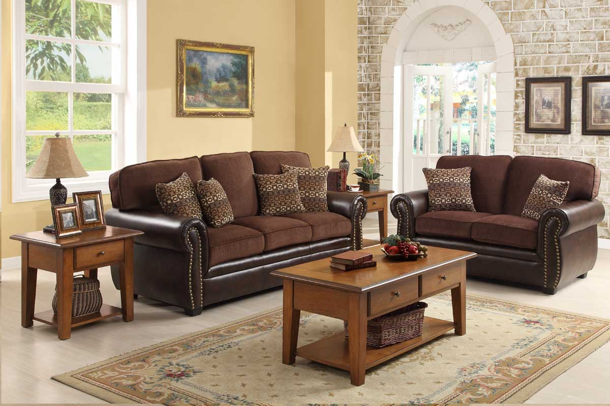 Homelegance beckstead living room set in chocolate for Chocolate brown couch living room ideas