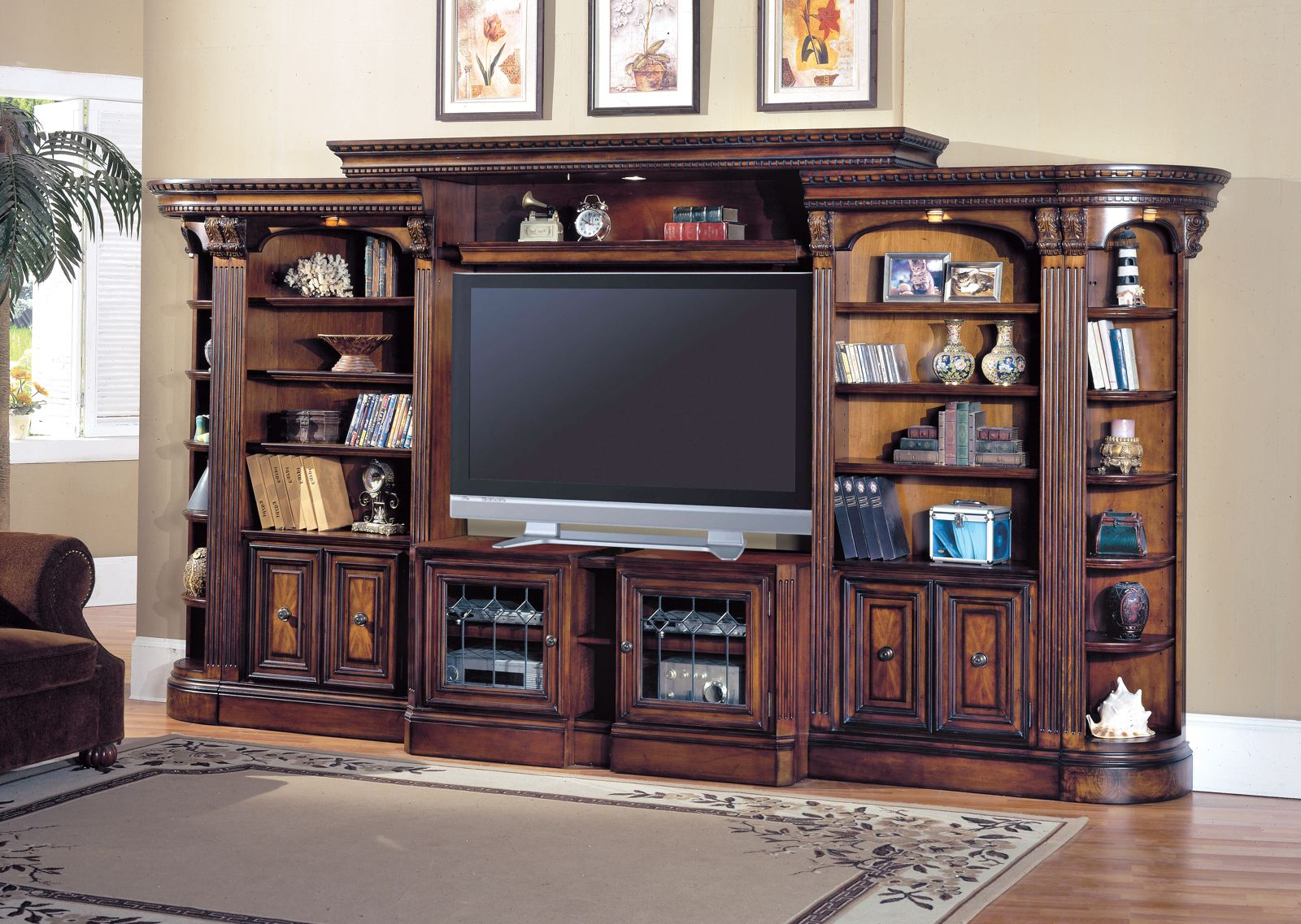 Parker House Huntington Expandable Open Entertainment Wall In Vintage Pecan