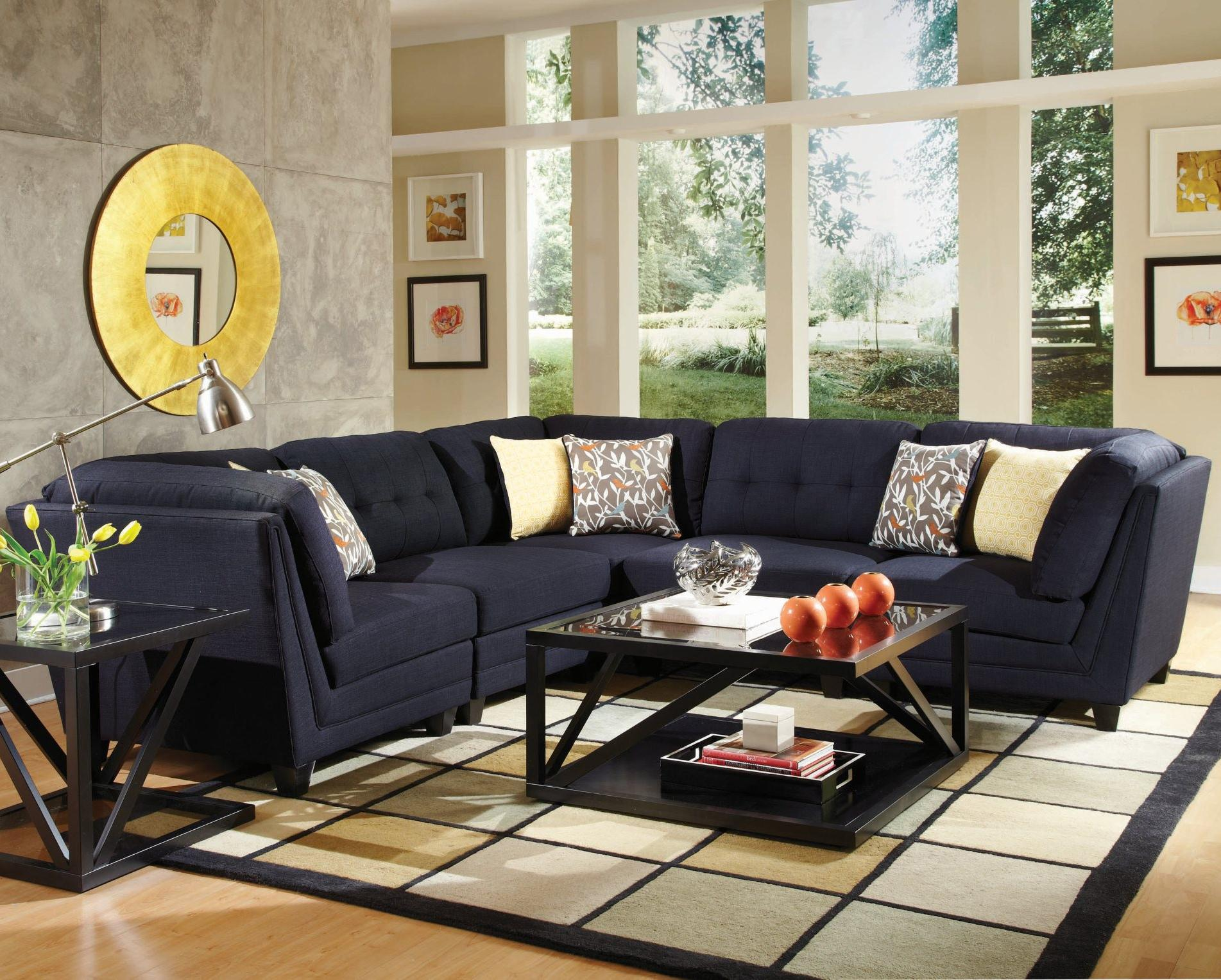 Coaster Keaton 5 Pc Sectional Living Room Set In Midnight Blue