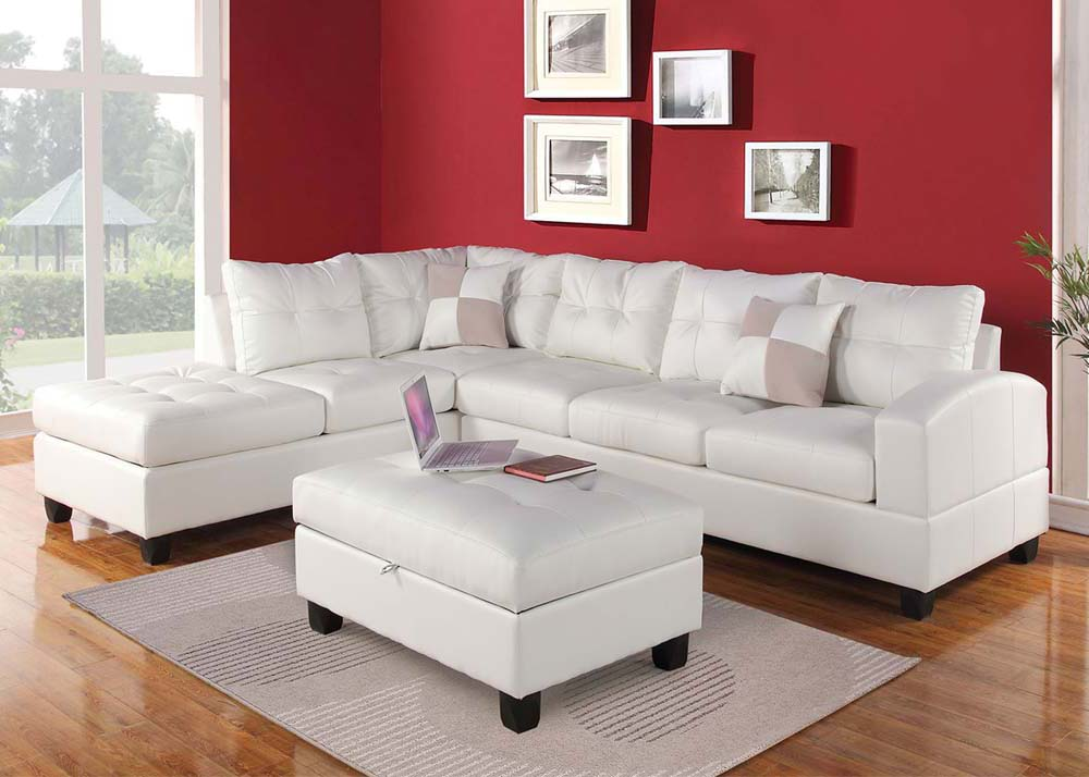 Acme kiva 3 piece living room set in white for 3 piece living room set cheap