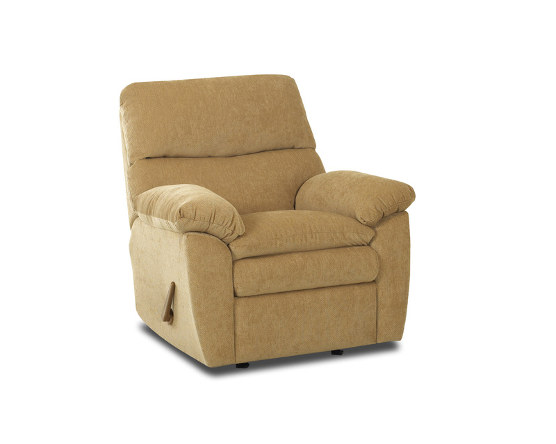 Klaussner Sanders Swivel Rocking Reclining Chair in Collette Tan