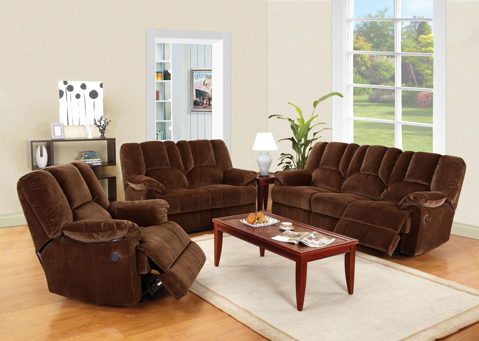acme obert 3 piece living room set in brown