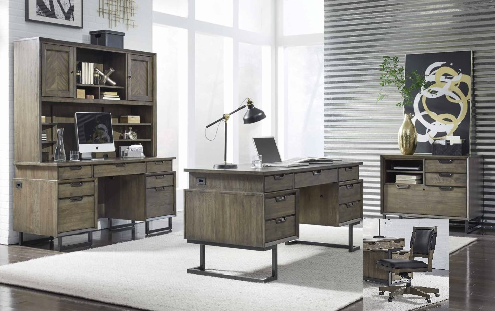 Aspenhome Harper Point 4pc Office Set W 66 Quot Executive Desk In Fossil Est Ship Time Is 4 Weeks