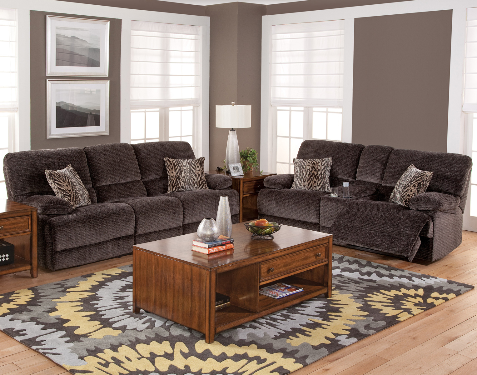 New classic furniture idaho 2 piece living room set in shadow for 3 piece living room set cheap